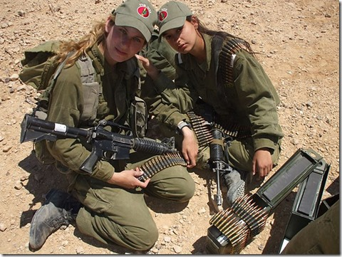 IDF-Israel-Defense-Forces-Female-Officer-Cadets-with-M16A1-converted-to-M4-and-belted-ammunition.