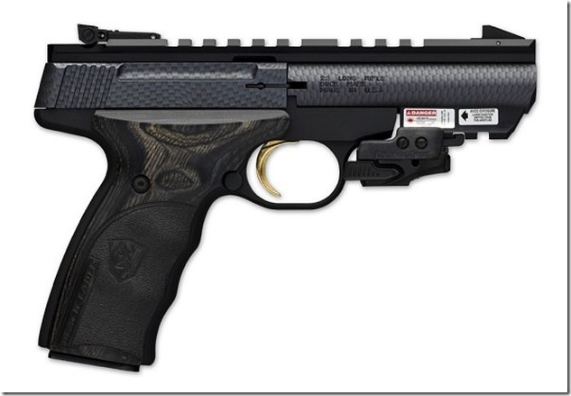 Browning Buck Mark Black Label pistol with Crimson Trace Rail Master