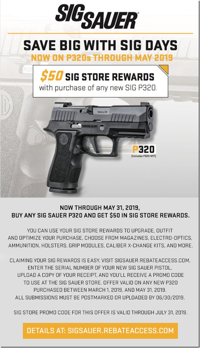 Save on the P320 with SIG Days | FOG HORN
