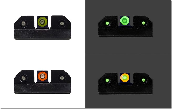 XS Ram Night Sights - Green and Orange on Left in Bright Light; Green and Orange on Right in Low Light