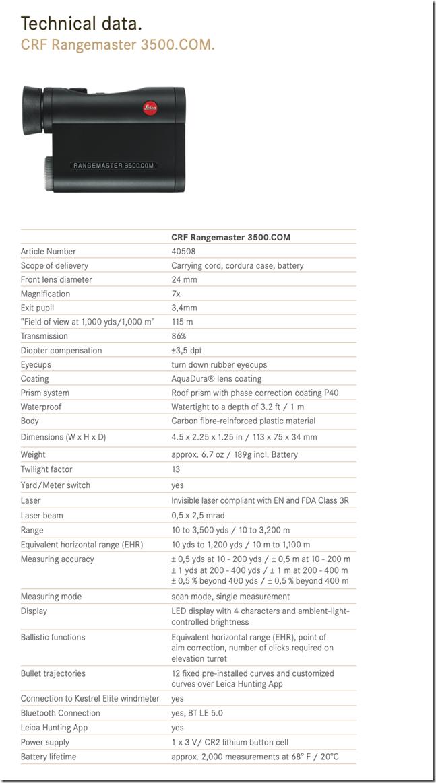 Leica compact Rangemaster CRF 3500